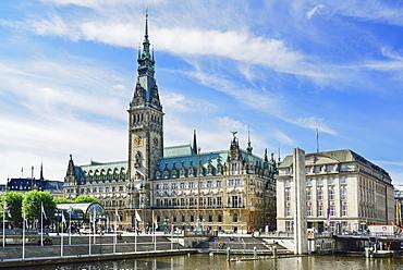 City hall of Hamburg, Binnenalster, Hamburg, Germany