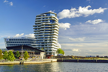 Marco Polo Tower with Grasbrookhafen, Hafencity, Hamburg, Germany