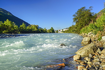 Inn river, La Punt-Chamues-ch, Upper Engadin, Canton of Graubuenden, Switzerland