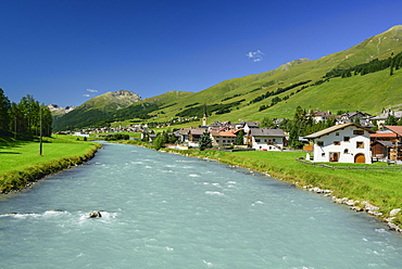 View over Inn river to S-chanf, La Plaiv, Upper Engadin, Canton of Graubuenden, Switzerland