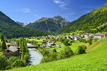 View to Lavin with Inn river, Lower Engadin, Canton of Graubuenden, Switzerland