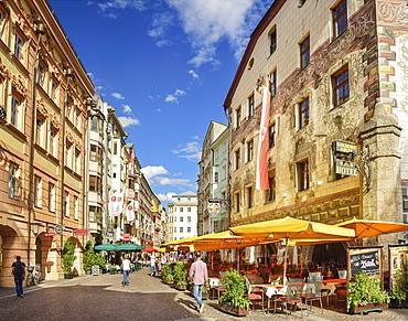 Pedestrian area with pavement cafes, Innsbruck, Tyrol, Austria