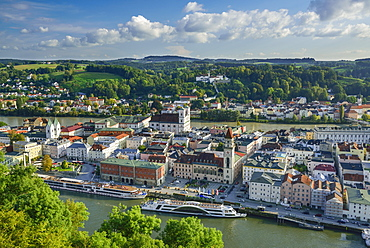 Old town with town hall and church of St. Michael, Passau, Lower Bavaria, Germany