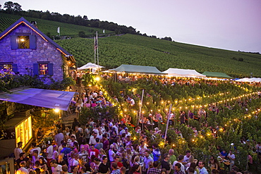 People at Hoffest celebration at Weingut am Stein winery at dusk, Wuerzburg, Franconia, Bavaria, Germany