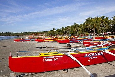 Fishing boats at Pug-Os Beach near Laoag City, Ilocos Norte province on the main island Luzon, Philippines, Asia
