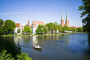 View over river Trave to Lubeck Cathedral, Lubeck, Schleswig-Holstein, Germany