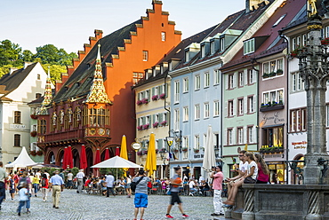Muensterplatz square, historic center, Freiburg im Breisgau, Black Forest, Baden-Wuerttemberg, Germany
