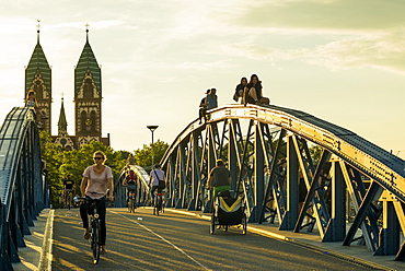 Bridge, Blaue Bruecke, Wiwilibruecke, Freiburg im Breisgau, Black Forest, Baden-Wuerttemberg, Germany