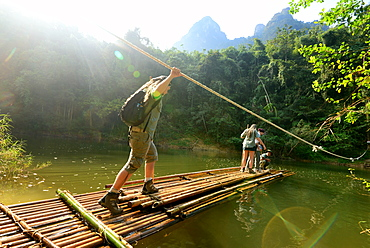 Hiking at Camp: Elephant Hills in Khao Sok National Park, Surat Thani, South Thailand, Asien