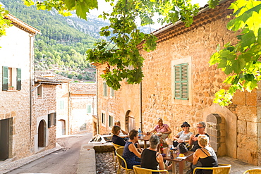 Group of older woman in a cafe, restaurant, romantic mountain village, Biniaraix, Serra de Tramuntana, Majorca, Balearic Islands, Spain, Europe
