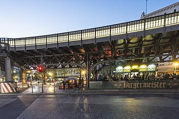 Metro station Schlesisches Tor and Burgermeister Fast Food restaurant, Kreuzberg, Berlin, Germany