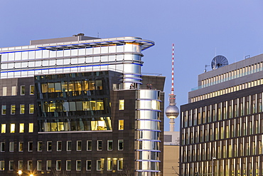 Modern architecture and offices, Alex TV Tower, Berlin Mitte, Berlin, Germany