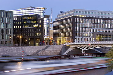 Kronprinzen Bridge and modern architecture, Calatrava bridge, Berlin, Germany