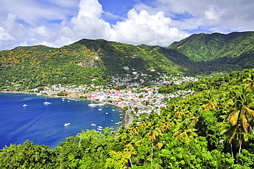 View to bay with capital Castries, sea, St. Lucia, Saint Lucia, Lesser Antilles, Westindies, Windward Islands, Antilles, Caribbean, Central America
