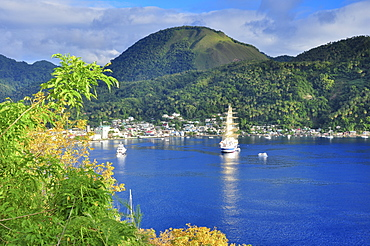 sailing boats and ships and mountains in the bay of Soufriere, St. Lucia, Saint Lucia, Lesser Antilles, West Indies, Windward Islands, Antilles, Caribbean, Central America