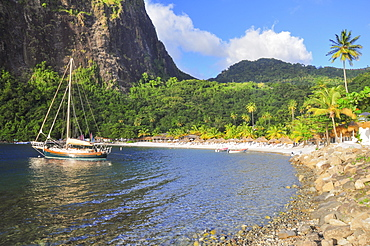 sailing ship at Anse Piton bay below Pitons, Sugar Beach, sea, Soufriere, St. Lucia, Saint Lucia, Lesser Antilles, West Indies, Windward Islands, Antilles, Caribbean, Central America