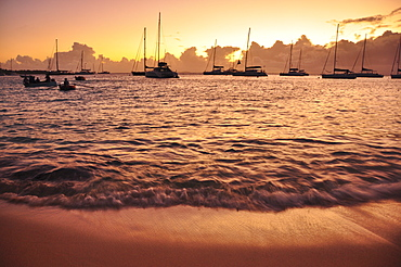 waves on the beach and sailing ships at sunset, sea, Mustique, St. Vincent, Saint Vincent and the Grenadines, Lesser Antilles, West Indies, Windward Islands, Antilles, Caribbean, Central America