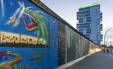 Berlin Wall, East Side Gallery, Living Levels, Skyscraper, Media Spree, Berlin, Germany