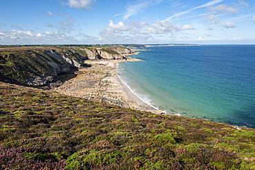 Coastal landscape at Cap Frehel, Cote d´Emeraude, Bretagne, France, Europe, Atlantic Ocean