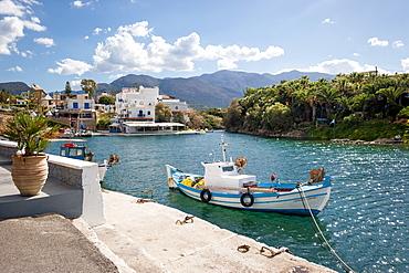 Boat in the harbour, Sisi, Crete, Greece, Europe, Mediterranean Sea