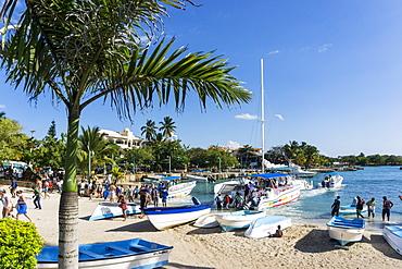 Tour boats to Saona Island, Bayahibe, Dominican Republic, Antilles, Caribbean
