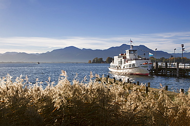 Excursion ship at the landing stage, near Gstadt, Chiemsee, Chiemgau region, Bavaria, Germany