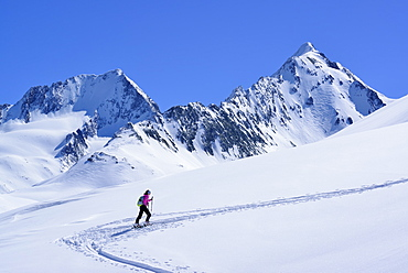 Female back-country skier ascending to Eiskoegele, Obergurgl, Oetztal Alps, Tyrol, Austria