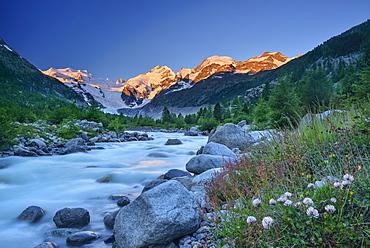 Stream in the mountains with view to Bernina range, valley of Morteratsch, Morteratsch, Bernina, Upper Engadin, Engadin, Grisons, Switzerland