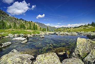 Lake Lago Bianco at hut Rifugio Barbustel, Natural Park Mont Avic, Graian Alps range, valley of Aosta, Aosta, Italy