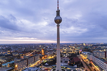 view at sunset over Berlin and Alex, Alexanderplatz, Berlin, Germany