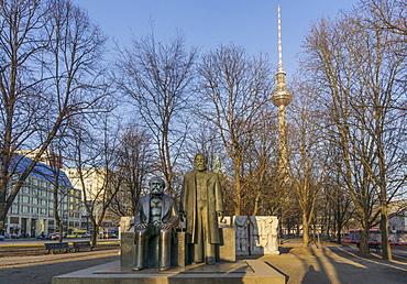 Statues of Karl Marx and Friedrich Engels, Alex TV Tower, Berlin Mitte, Berlin, Germany