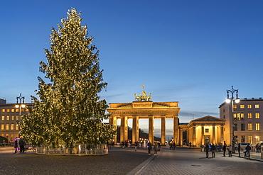 Christmas Tree on Pariser Platz and Brandenburg Gate, Berlin Germany