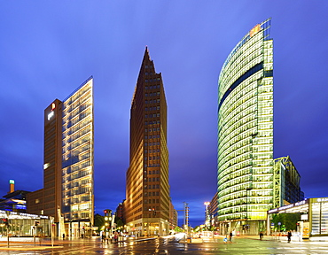 Illuminated skyscrapers at Potsdamer Platz, Berlin, Germany
