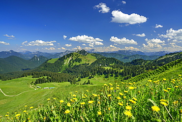 View over Rauhalm to mountain scenery, Seekarkreuz, Bavarian Prealps, Upper Bavaria, Bavaria, Germany
