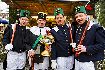 Miners at the Christmas market, Seiffen, Ore mountains, Saxony, Germany