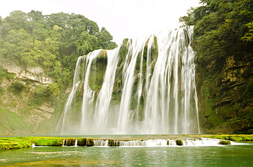 The Huangguoshu waterfall, almost 75 meters high and 100 meters wide, it is the most famous waterfall in China and one of the biggest of Asia, near the city of Anshun, province of Guizhou, China