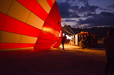 Balloon pilots at the break of dawn in Goereme, Cappadocia, Turkey