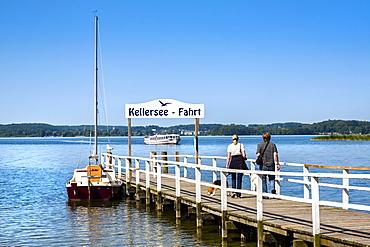 Pier at lake Keller, Holstein Switzerland, Ostholstein, Schleswig-Holstein, Germany