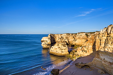 Beach and rocky coast, Praia da Marinha, Faro, Algarve, Portugal