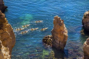 Kayak trip around Ponta de Piedade, Rocky coastline, Lagos, Algarve, Portugal