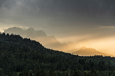 Zugspitze and thunderstorm, near Mittenwald, Upper Bavaria, Bavaria, Germany