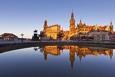 View from Theaterplatz with equestrian statue of King Johann von Sachsen towards Hofkirche and Residenzschloss, Dresden, Saxony, Germany