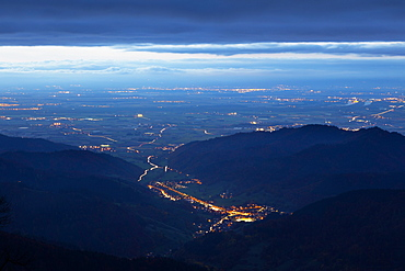 View from Belchen over Muenstertal towards the Rhine valley, Black Forest, Baden-Wuerttemberg, Germany