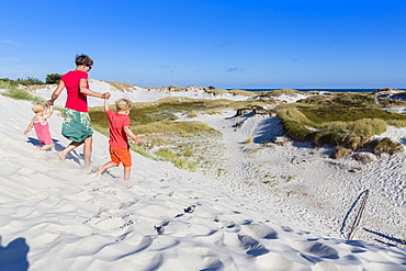 Young family, walking through the dunes of Dueodde, sandy beach, Summer, Baltic sea, Bornholm, Dueodde, Denmark, Europe, MR
