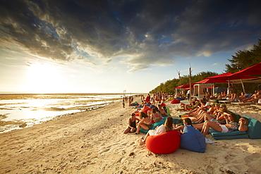 Guests in beach bar, Gili Trawangan, Lombok, Indonesia