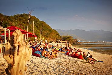 Guests in a beach bar, Gili Trawangan, Lombok, Indonesia