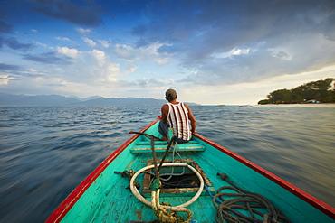 Fisherman, Boat Trip between the Islands, Gili Trawangan, Lombok, Indonesia