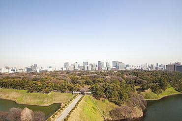 Imperial Palace Ground with banking quarter Marunouchi in background, Chiyoda-ku, Tokyo, Japan