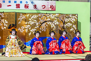 Stage performance in colorful costumes during Oiran-Doch Festival in Asakusa, Taito-ku, Tokyo, Japan