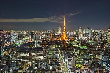 Tokyo Tower and skyscrapers at night, Minato-ku, Tokyo, Japan